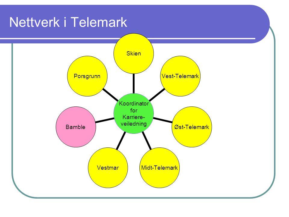 Nettverk i Telemark Koordinator for Karriere- veiledning Skien Vest- Telemark Øst- Telemark Midt- Telemark Vestmar Bamble Porsgrunn