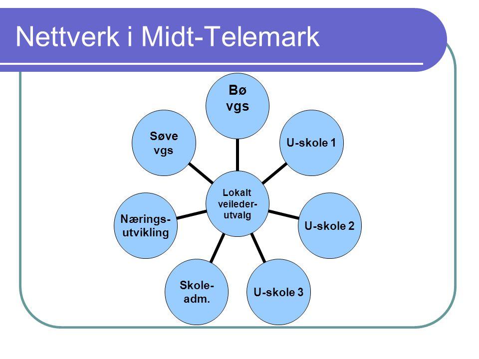 Nettverk i Midt-Telemark Lokalt veileder- utvalg Bø vgsU-skole 1U-skole 2U-skole 3 Skole- adm. Nærings- utvikling Søve vgs