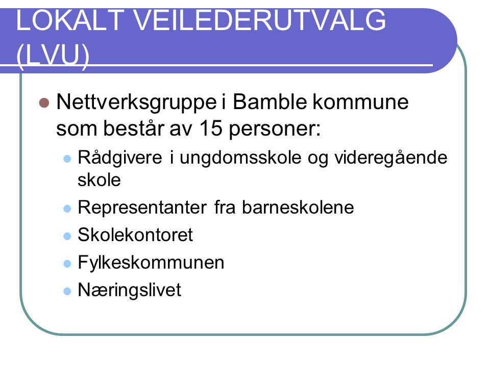 LOKALT VEILEDERUTVALG (LVU) Nettverksgruppe i Bamble kommune som består av 15 personer: Rådgivere i ungdomsskole og videregående skole Representanter