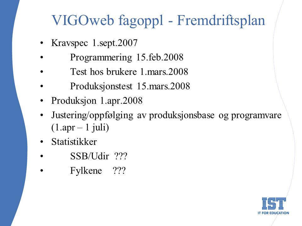 VIGOweb fagoppl - Fremdriftsplan Kravspec 1.sept.2007 Programmering 15.feb.2008 Test hos brukere 1.mars.2008 Produksjonstest 15.mars.2008 Produksjon 1.apr.2008 Justering/oppfølging av produksjonsbase og programvare (1.apr – 1 juli) Statistikker SSB/Udir .