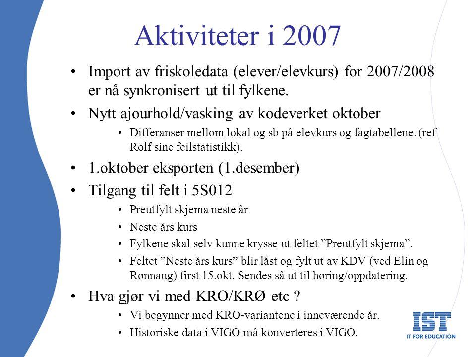 Aktiviteter i 2007 Import av friskoledata (elever/elevkurs) for 2007/2008 er nå synkronisert ut til fylkene. Nytt ajourhold/vasking av kodeverket okto