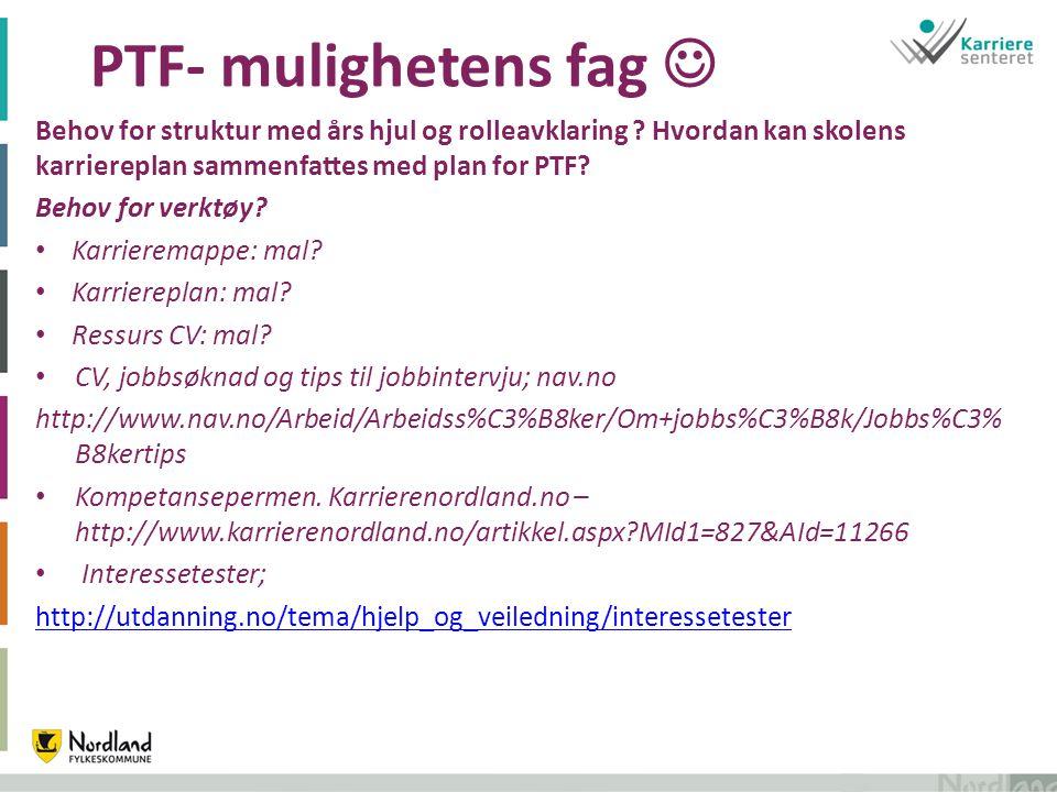 PTF- mulighetens fag Behov for struktur med års hjul og rolleavklaring .