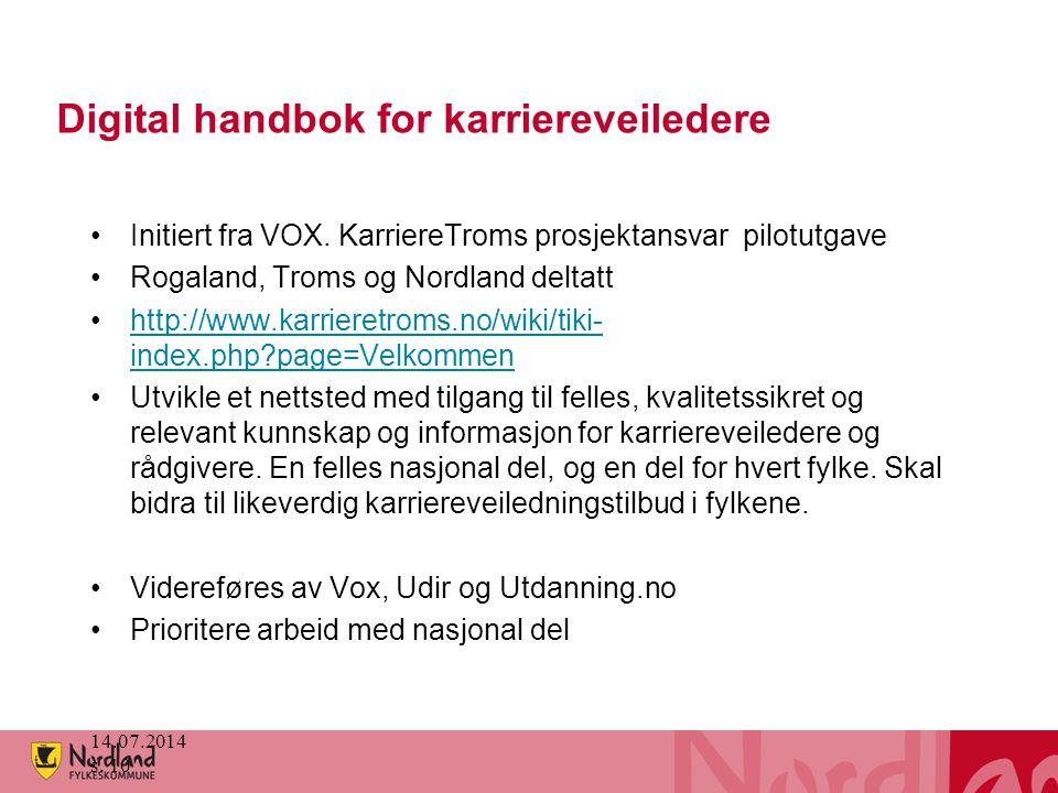 Digital handbok for karriereveiledere Initiert fra VOX. KarriereTroms prosjektansvar pilotutgave Rogaland, Troms og Nordland deltatt http://www.karrie