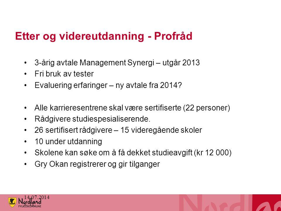 Etter og videreutdanning - Profråd 3-årig avtale Management Synergi – utgår 2013 Fri bruk av tester Evaluering erfaringer – ny avtale fra 2014? Alle k