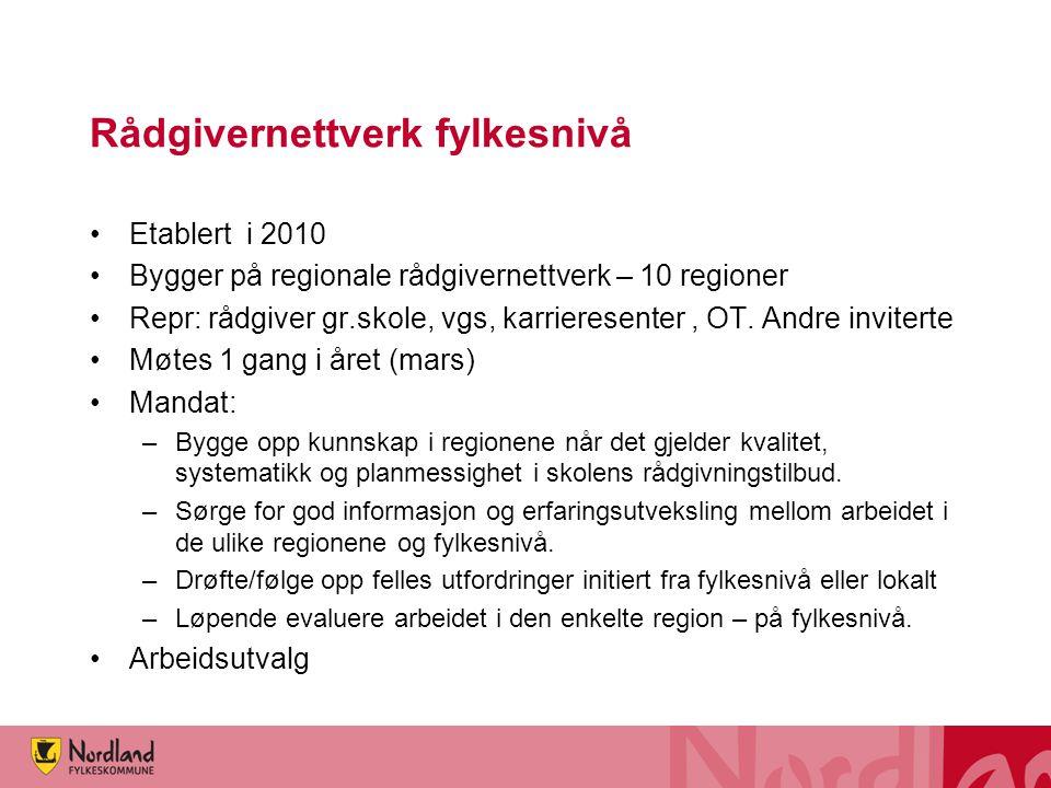 Rådgivernettverk fylkesnivå Etablert i 2010 Bygger på regionale rådgivernettverk – 10 regioner Repr: rådgiver gr.skole, vgs, karrieresenter, OT.