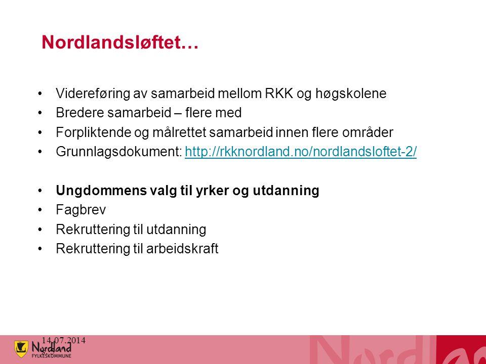 Nordlandsløftet… Videreføring av samarbeid mellom RKK og høgskolene Bredere samarbeid – flere med Forpliktende og målrettet samarbeid innen flere områ