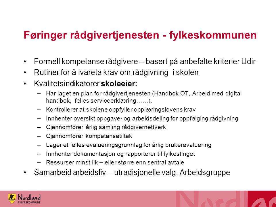 Føringer rådgivertjenesten - fylkeskommunen Formell kompetanse rådgivere – basert på anbefalte kriterier Udir Rutiner for å ivareta krav om rådgivning