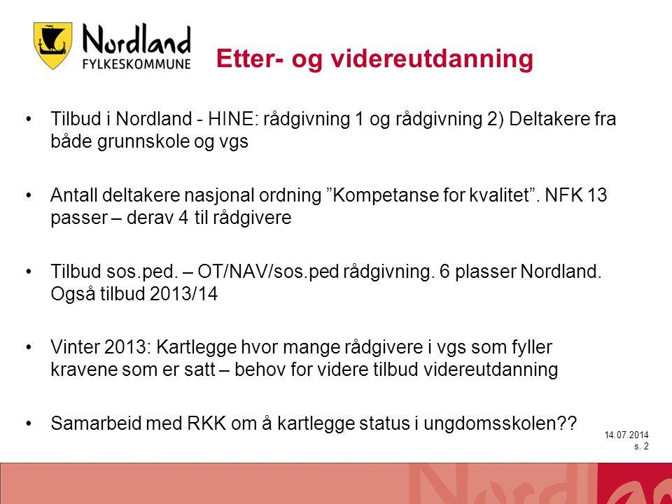 Etter- og videreutdanning Tilbud i Nordland - HINE: rådgivning 1 og rådgivning 2) Deltakere fra både grunnskole og vgs Antall deltakere nasjonal ordni