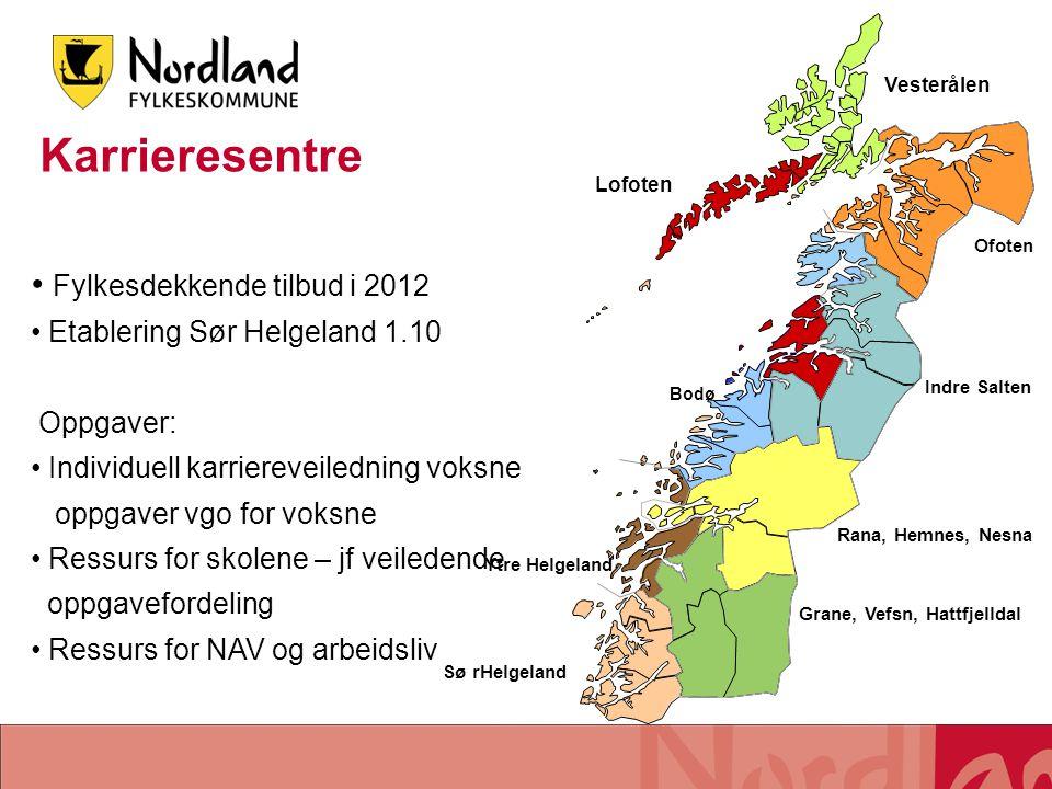 Fylkesdekkende tilbud i 2012 Etablering Sør Helgeland 1.10 Oppgaver: Individuell karriereveiledning voksne oppgaver vgo for voksne Ressurs for skolene
