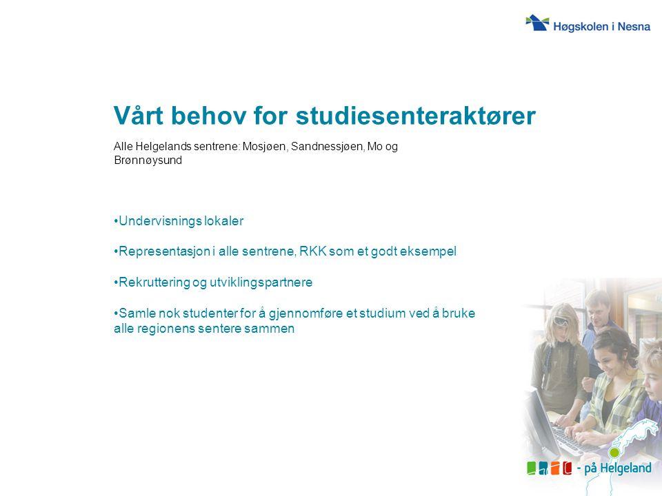 Vårt behov for studiesenteraktører Alle Helgelands sentrene: Mosjøen, Sandnessjøen, Mo og Brønnøysund Undervisnings lokaler Representasjon i alle sent
