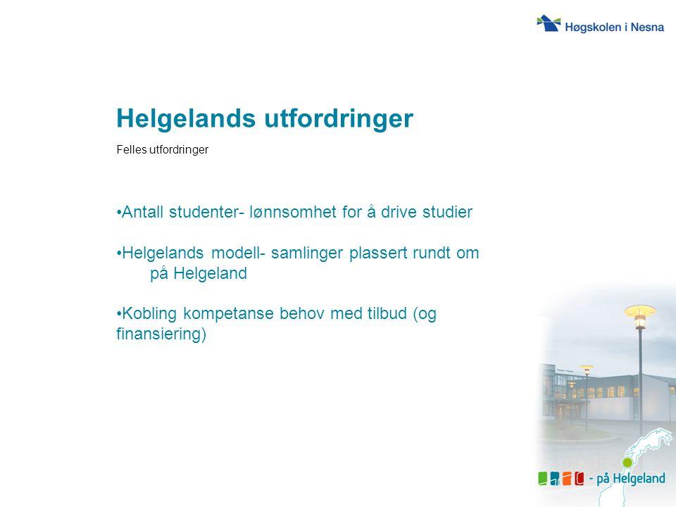 Helgelands utfordringer Felles utfordringer Antall studenter- lønnsomhet for å drive studier Helgelands modell- samlinger plassert rundt om på Helgela