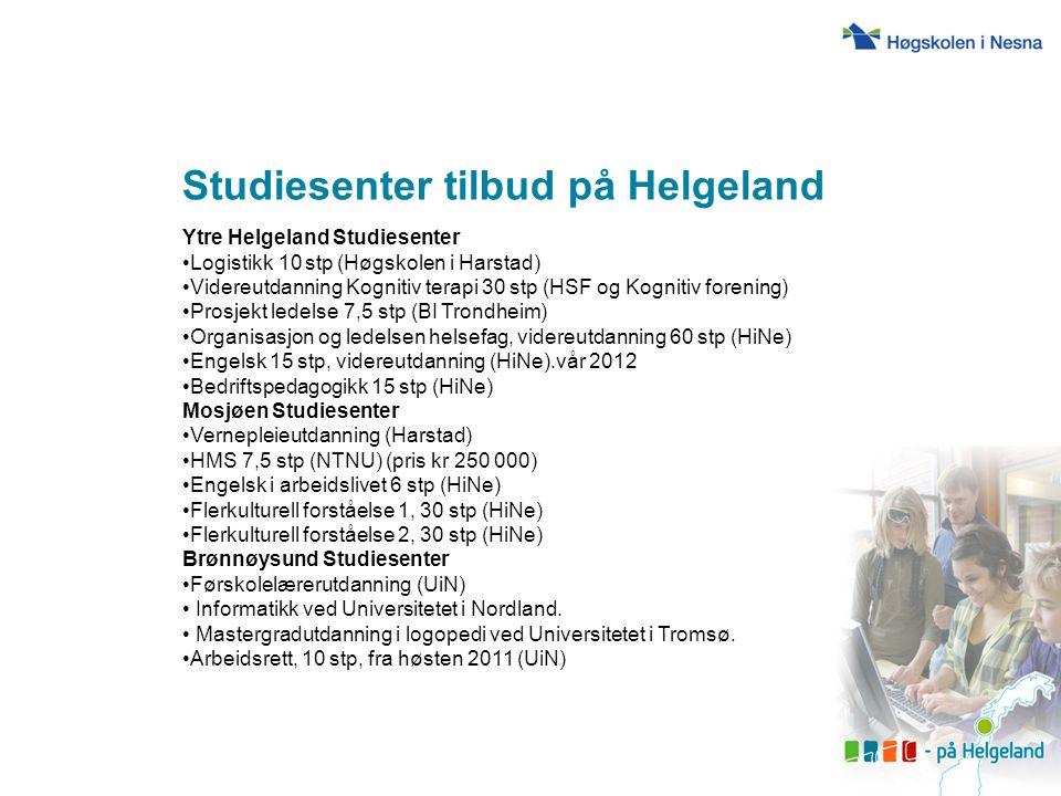 Studier 2011 Kunnskapsparken Helgeland (fra møte 11.10.11, Bjørn Audun Risøy) o Transport og logistikkøkonomi (10 stp), UiN o Bedriftsøkonomi Helgeland (60 stp over to år), UiN o Forvaltningsrett (10 stp), UiT o Bibliotekstudie - Digitalisering og digitale dok.
