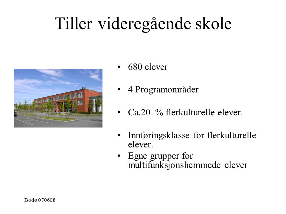 Bodø 070608 Tiller videregående skole 680 elever 4 Programområder Ca.20 % flerkulturelle elever. Innføringsklasse for flerkulturelle elever. Egne grup