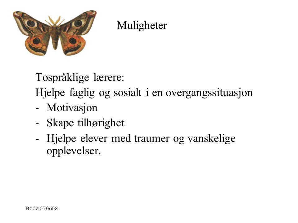 Bodø 070608 Tospråklige lærere: Hjelpe faglig og sosialt i en overgangssituasjon -Motivasjon -Skape tilhørighet -Hjelpe elever med traumer og vanskeli