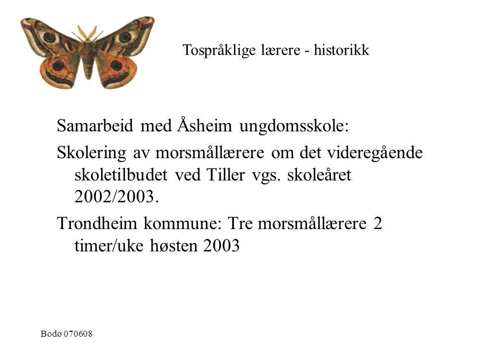 Bodø 070608 Samarbeid med Åsheim ungdomsskole: Skolering av morsmållærere om det videregående skoletilbudet ved Tiller vgs. skoleåret 2002/2003. Trond