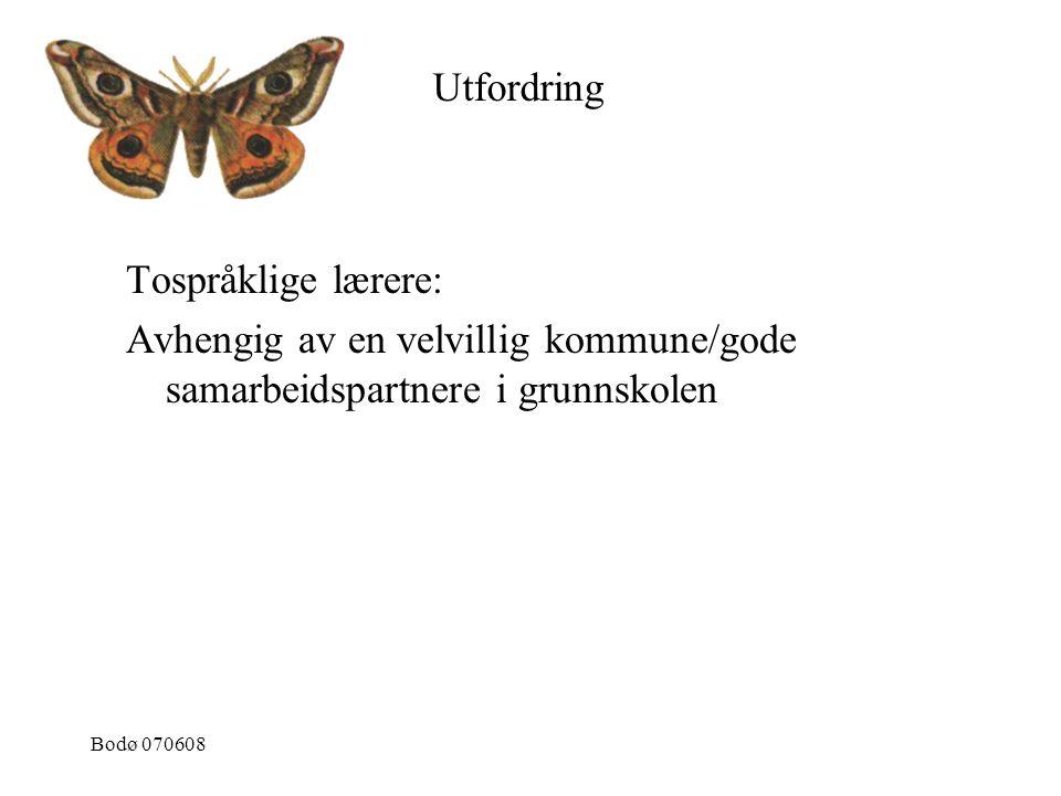 Bodø 070608 Tospråklige lærere: Avhengig av en velvillig kommune/gode samarbeidspartnere i grunnskolen Utfordring
