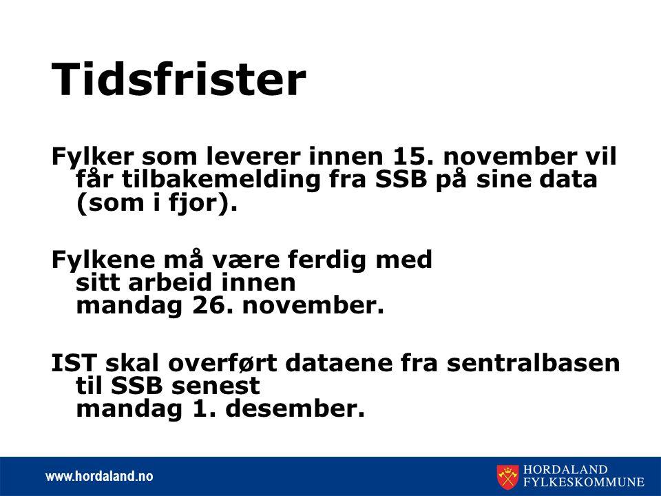 www.hordaland.no Tidsfrister Fylker som leverer innen 15.