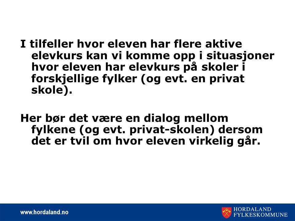 www.hordaland.no Elever ved de privat videregående skolene kan forekomme med fullførtkoder=X og elevstatus=X.
