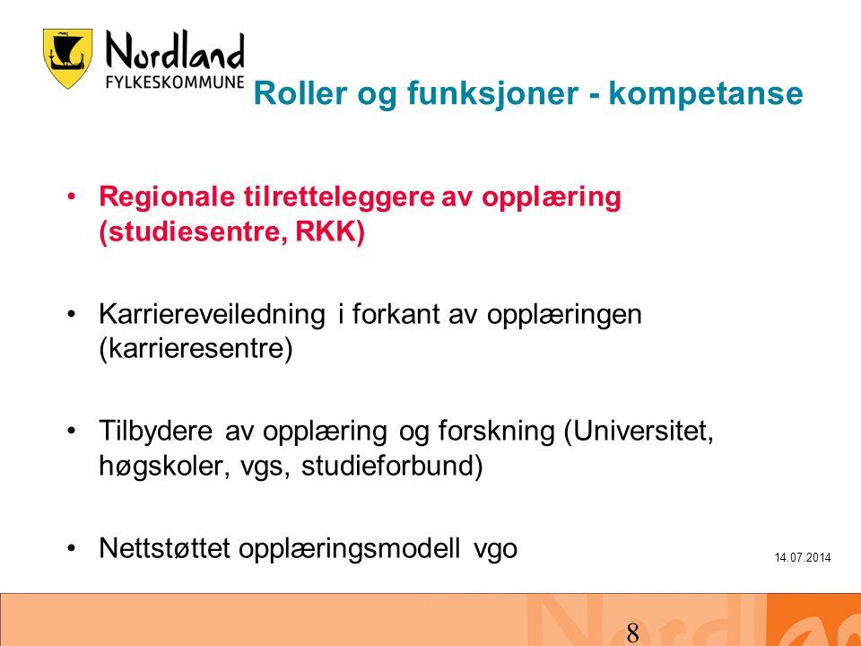14.07.2014 8 Roller og funksjoner - kompetanse Regionale tilretteleggere av opplæring (studiesentre, RKK) Karriereveiledning i forkant av opplæringen