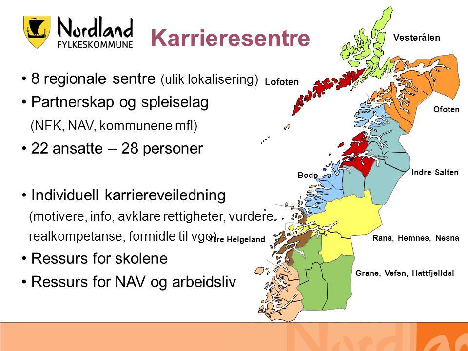 8 regionale sentre (ulik lokalisering) Partnerskap og spleiselag (NFK, NAV, kommunene mfl) 22 ansatte – 28 personer Individuell karriereveiledning (mo