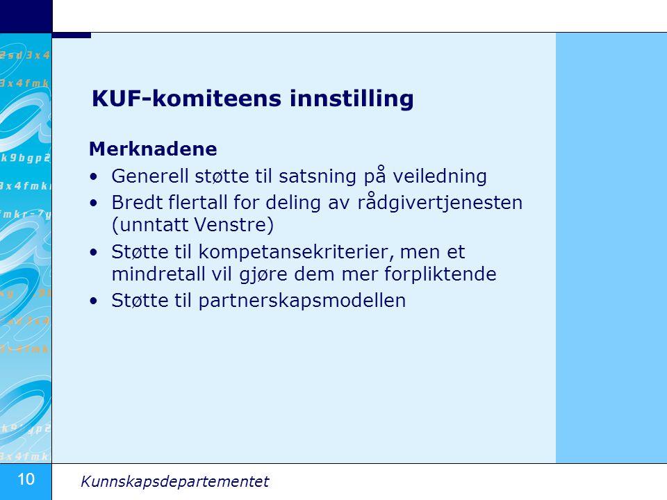 10 Kunnskapsdepartementet KUF-komiteens innstilling Merknadene Generell støtte til satsning på veiledning Bredt flertall for deling av rådgivertjenest