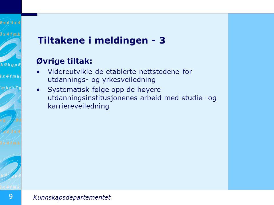 9 Kunnskapsdepartementet Tiltakene i meldingen - 3 Øvrige tiltak: Videreutvikle de etablerte nettstedene for utdannings- og yrkesveiledning Systematis