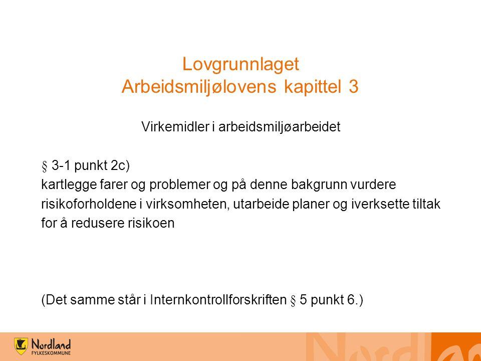 Lovgrunnlaget Arbeidsmiljølovens kapittel 3 Virkemidler i arbeidsmiljøarbeidet § 3-1 punkt 2c) kartlegge farer og problemer og på denne bakgrunn vurde