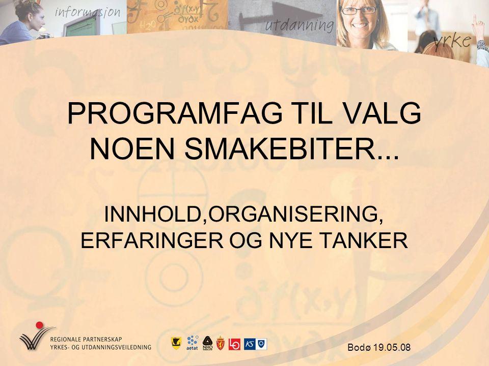 PROGRAMFAG TIL VALG NOEN SMAKEBITER... INNHOLD,ORGANISERING, ERFARINGER OG NYE TANKER Bodø 19.05.08