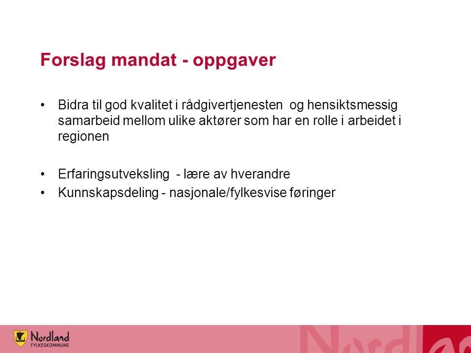 Forslag mandat - oppgaver Bidra til god kvalitet i rådgivertjenesten og hensiktsmessig samarbeid mellom ulike aktører som har en rolle i arbeidet i re