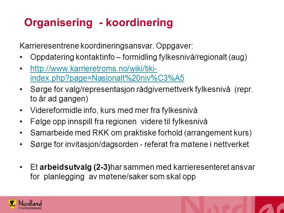 Organisering - koordinering Karrieresentrene koordineringsansvar. Oppgaver: Oppdatering kontaktinfo – formidling fylkesnivå/regionalt (aug) http://www