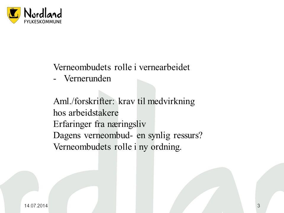 14.07.20143 Verneombudets rolle i vernearbeidet -Vernerunden Aml./forskrifter: krav til medvirkning hos arbeidstakere Erfaringer fra næringsliv Dagens
