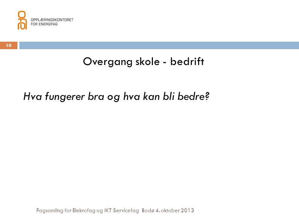 Fagsamling for Elekrofag og IKT Servicefag Bodø 4. oktober 2013 Overgang skole - bedrift Hva fungerer bra og hva kan bli bedre? 10