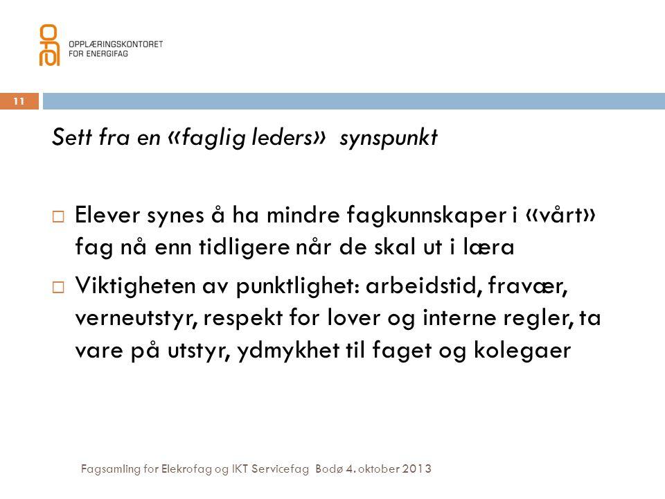 Fagsamling for Elekrofag og IKT Servicefag Bodø 4. oktober 2013 11 Sett fra en «faglig leders» synspunkt  Elever synes å ha mindre fagkunnskaper i «v