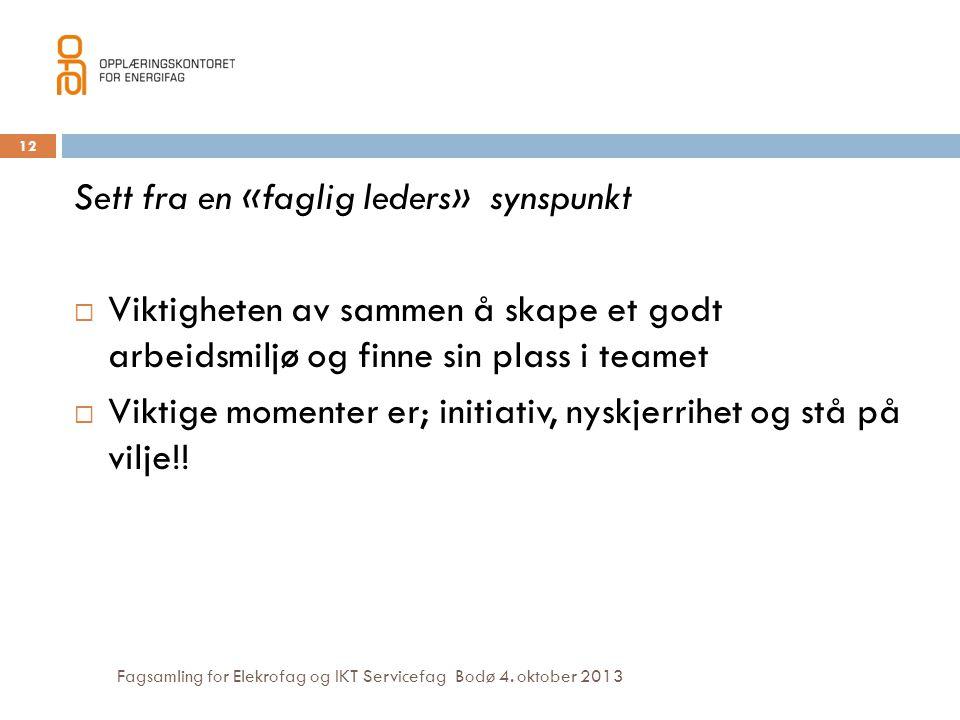Fagsamling for Elekrofag og IKT Servicefag Bodø 4. oktober 2013 12 Sett fra en «faglig leders» synspunkt  Viktigheten av sammen å skape et godt arbei