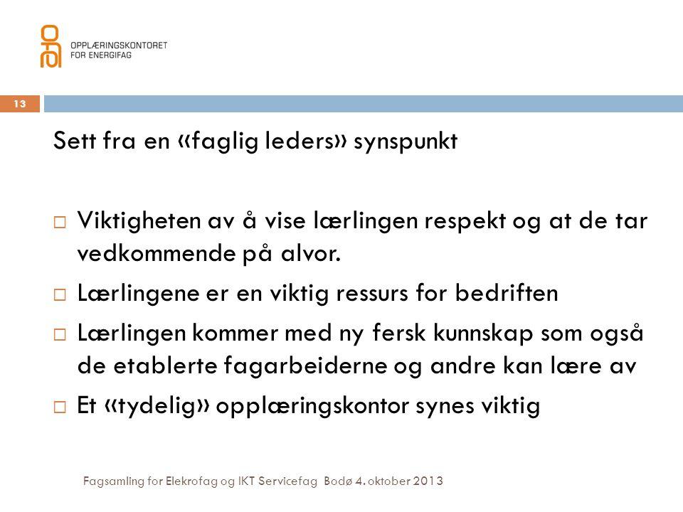 Fagsamling for Elekrofag og IKT Servicefag Bodø 4. oktober 2013 13 Sett fra en «faglig leders» synspunkt  Viktigheten av å vise lærlingen respekt og