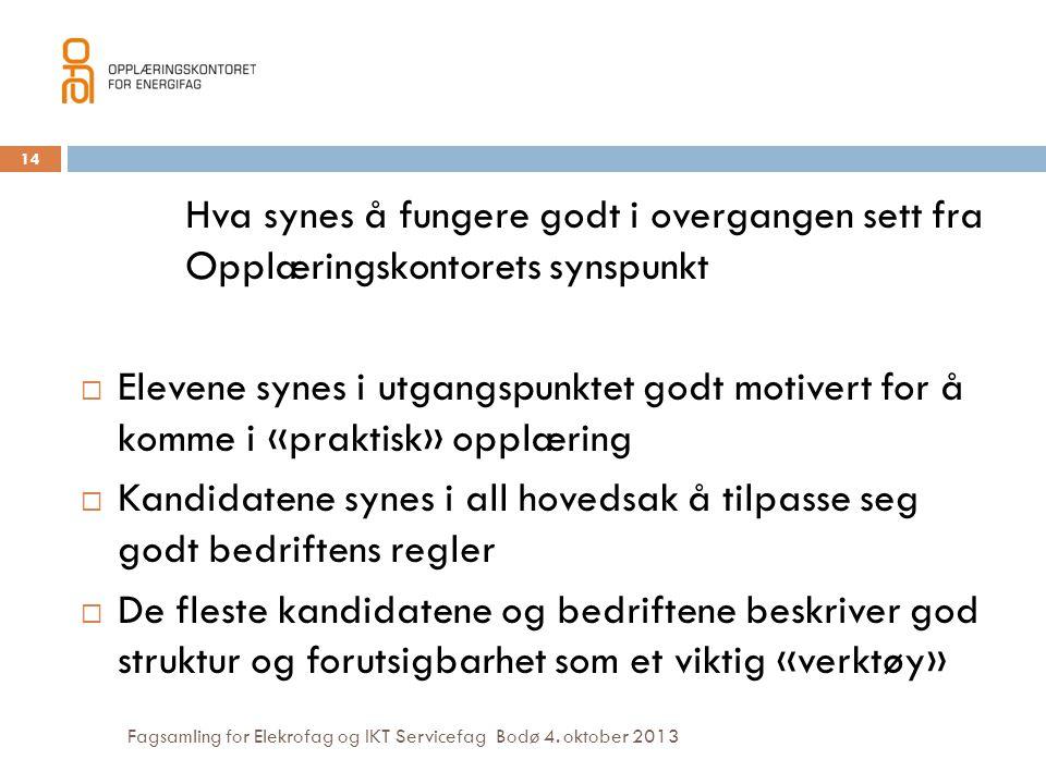 Fagsamling for Elekrofag og IKT Servicefag Bodø 4. oktober 2013 Hva synes å fungere godt i overgangen sett fra Opplæringskontorets synspunkt  Elevene