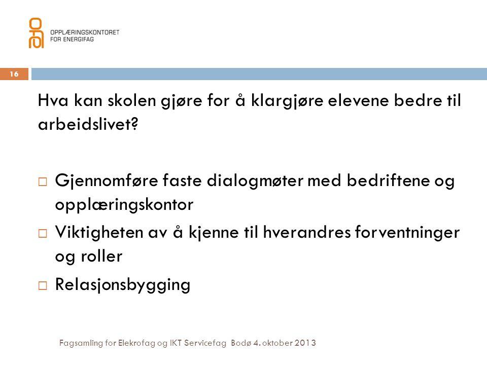 Fagsamling for Elekrofag og IKT Servicefag Bodø 4. oktober 2013 Hva kan skolen gjøre for å klargjøre elevene bedre til arbeidslivet?  Gjennomføre fas