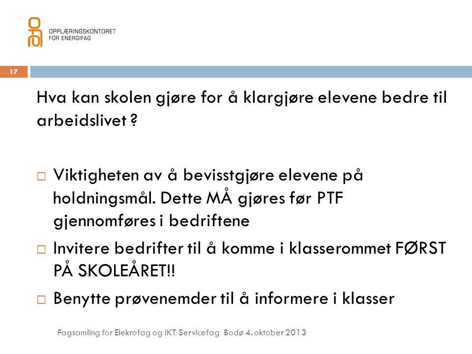 Fagsamling for Elekrofag og IKT Servicefag Bodø 4. oktober 2013 Hva kan skolen gjøre for å klargjøre elevene bedre til arbeidslivet ?  Viktigheten av