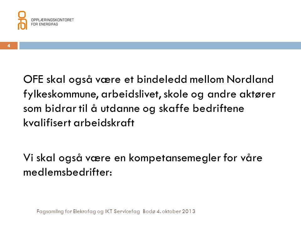 Fagsamling for Elekrofag og IKT Servicefag Bodø 4. oktober 2013 OFE skal også være et bindeledd mellom Nordland fylkeskommune, arbeidslivet, skole og