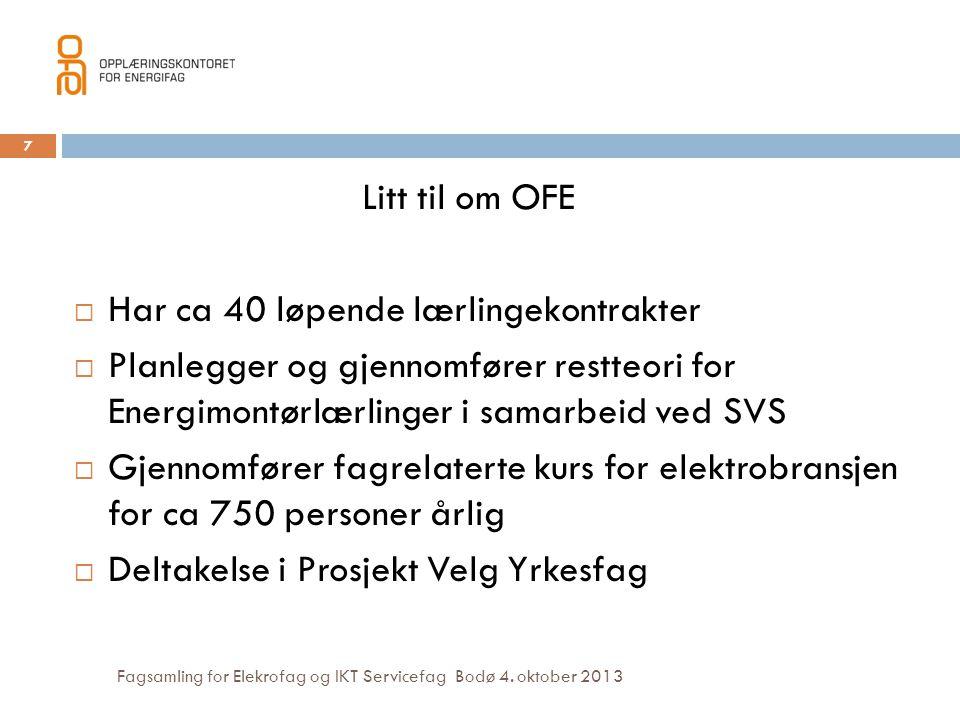 Fagsamling for Elekrofag og IKT Servicefag Bodø 4. oktober 2013 Litt til om OFE  Har ca 40 løpende lærlingekontrakter  Planlegger og gjennomfører re