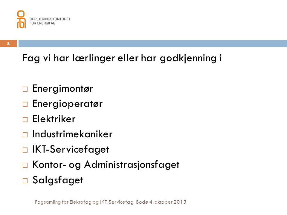 Fagsamling for Elekrofag og IKT Servicefag Bodø 4. oktober 2013 Fag vi har lærlinger eller har godkjenning i  Energimontør  Energioperatør  Elektri