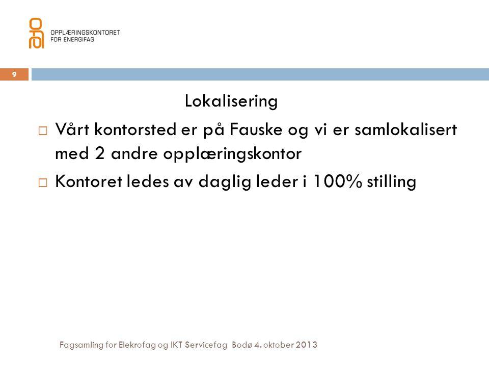 Fagsamling for Elekrofag og IKT Servicefag Bodø 4. oktober 2013 Lokalisering  Vårt kontorsted er på Fauske og vi er samlokalisert med 2 andre opplæri