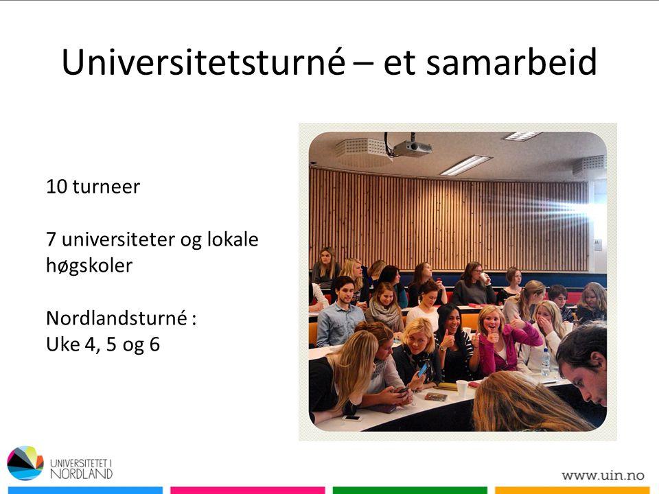 Universitetsturné – et samarbeid 10 turneer 7 universiteter og lokale høgskoler Nordlandsturné : Uke 4, 5 og 6