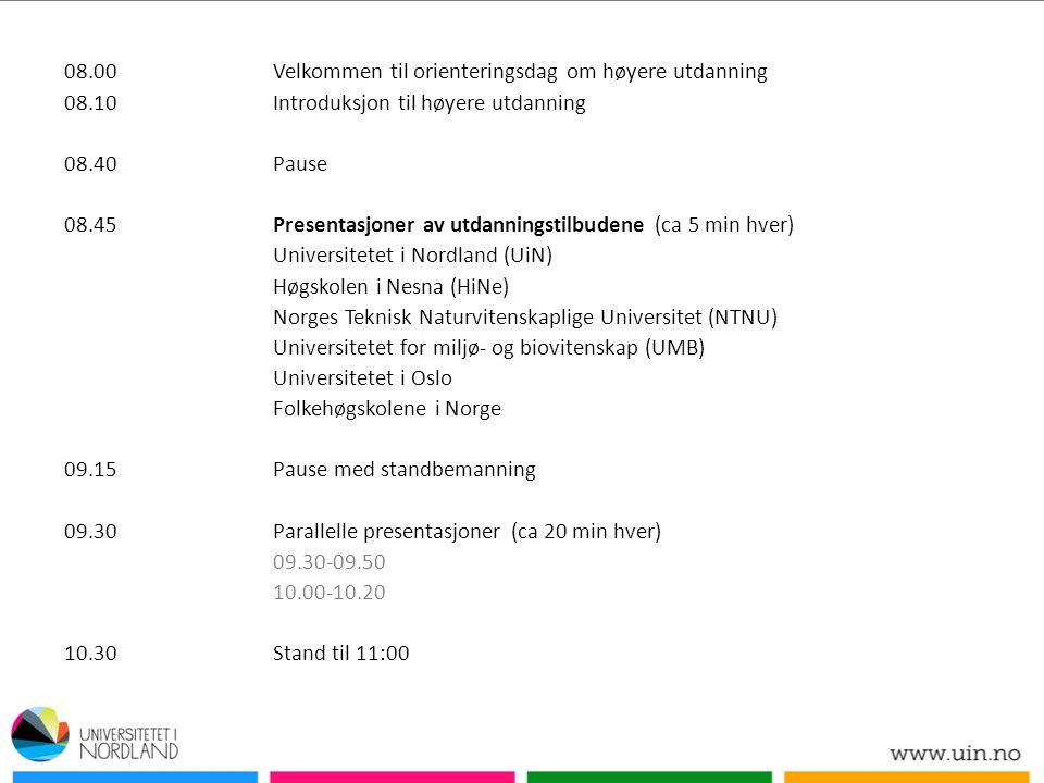 08.00Velkommen til orienteringsdag om høyere utdanning 08.10Introduksjon til høyere utdanning 08.40Pause 08.45Presentasjoner av utdanningstilbudene (ca 5 min hver) Universitetet i Nordland (UiN) Høgskolen i Nesna (HiNe) Norges Teknisk Naturvitenskaplige Universitet (NTNU) Universitetet for miljø- og biovitenskap (UMB) Universitetet i Oslo Folkehøgskolene i Norge 09.15Pause med standbemanning 09.30Parallelle presentasjoner (ca 20 min hver) 09.30-09.50 10.00-10.20 10.30Stand til 11:00