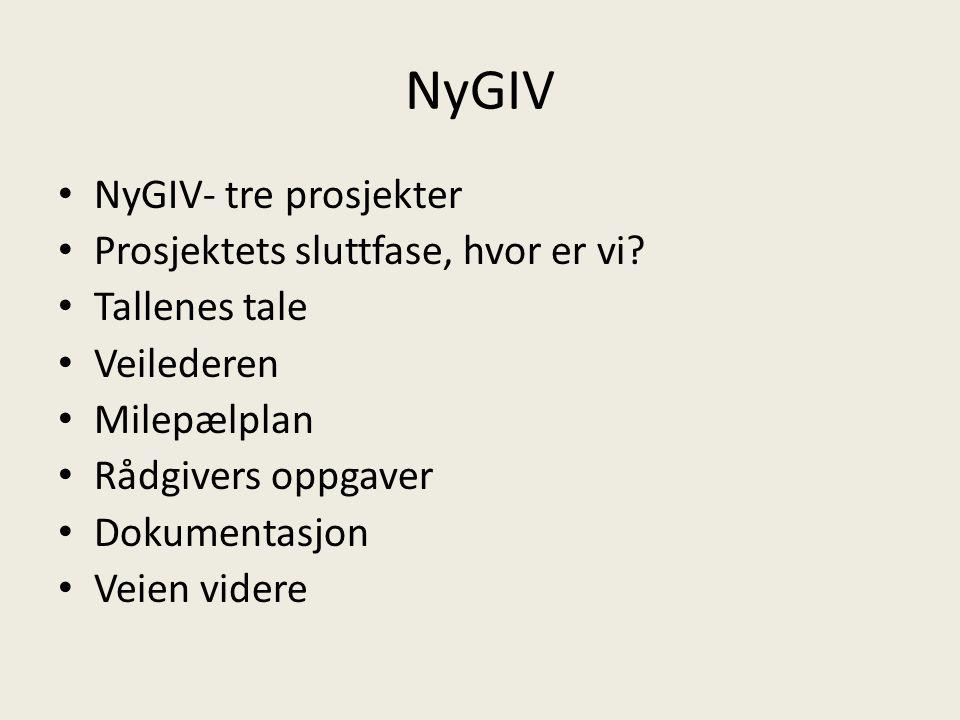 NyGIV NyGIV- tre prosjekter Prosjektets sluttfase, hvor er vi.
