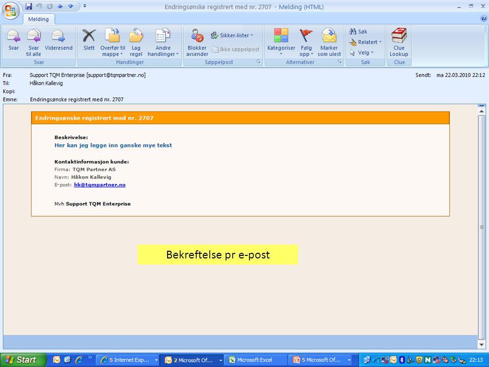 Bekreftelse pr e-post