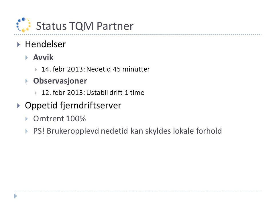 Status TQM Partner  Hendelser  Avvik  14. febr 2013: Nedetid 45 minutter  Observasjoner  12. febr 2013: Ustabil drift 1 time  Oppetid fjerndrift