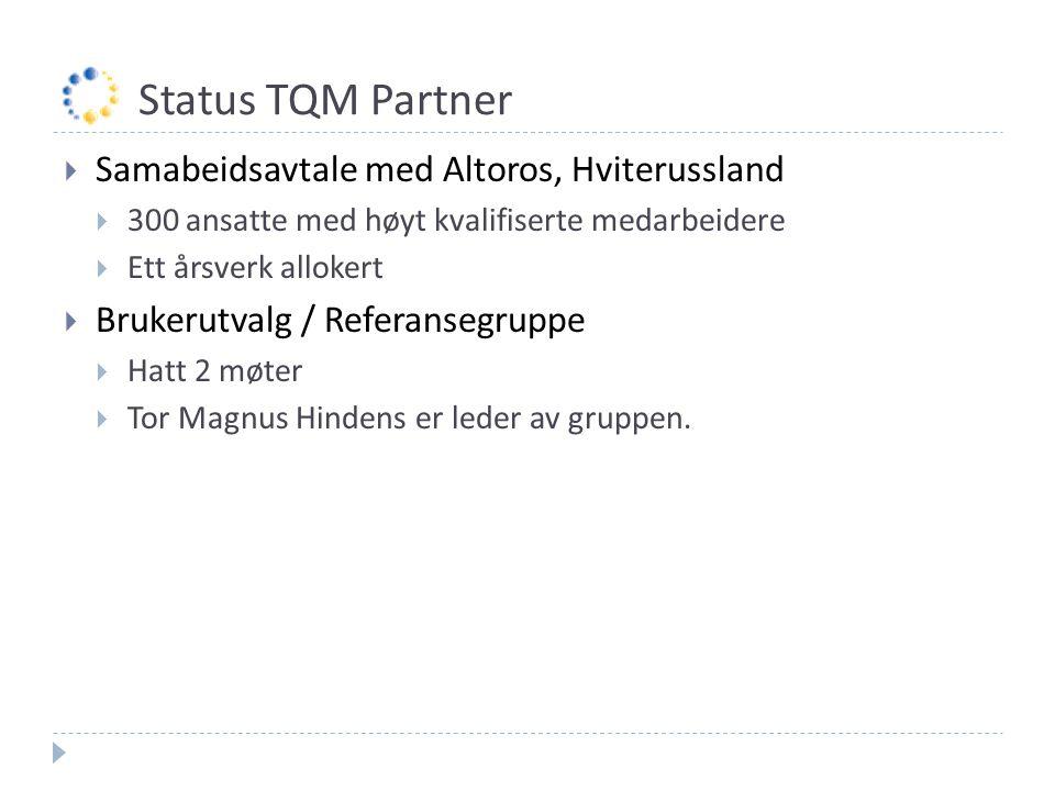 Status TQM Partner  Samabeidsavtale med Altoros, Hviterussland  300 ansatte med høyt kvalifiserte medarbeidere  Ett årsverk allokert  Brukerutvalg