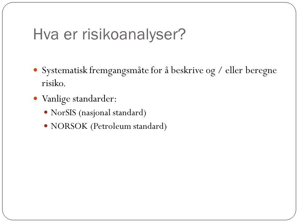 Hva er risikoanalyser? Systematisk fremgangsmåte for å beskrive og / eller beregne risiko. Vanlige standarder: NorSIS (nasjonal standard) NORSOK (Petr