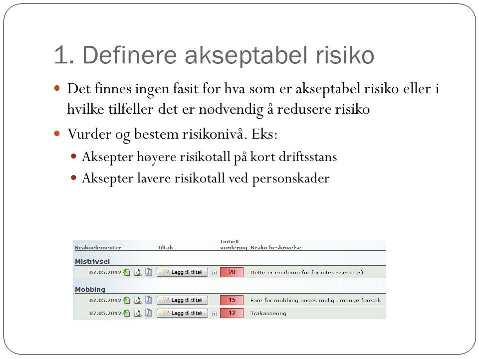 1. Definere akseptabel risiko Det finnes ingen fasit for hva som er akseptabel risiko eller i hvilke tilfeller det er nødvendig å redusere risiko Vurd